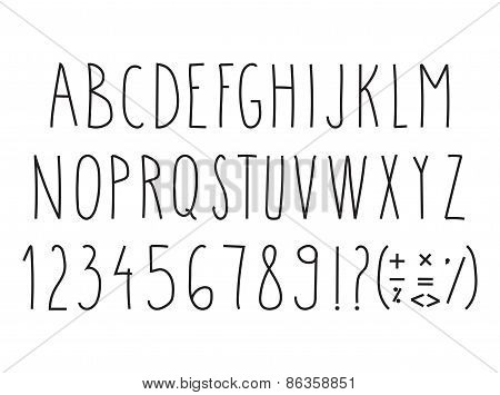 Hand drawn uppercase letters with punctuation marks and numbers on white background