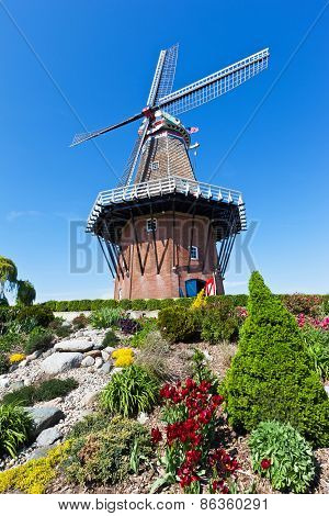 Windmill In Holland Michigan At Springtime