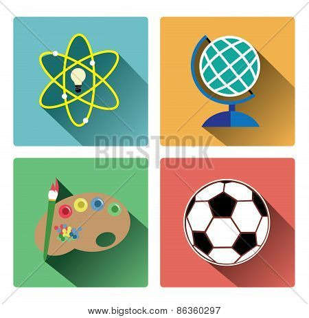 Modern education subject icons set