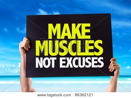 Make Muscles Not Excuses card with beach background