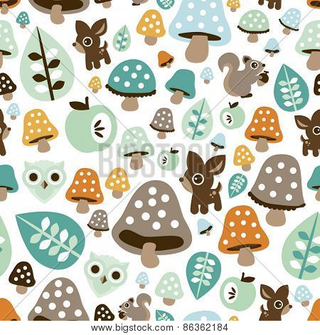 Seamless kids fall woodland animals with toadstool mushroom deer owl and squirrel illustration background pattern in vector