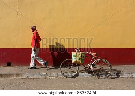 Trinidad - February 23: Streets Of Trinidad With Unknown Man Walking On February 23, 2015 In Trinida