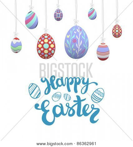 Digitally generated Hanging easter eggs vector