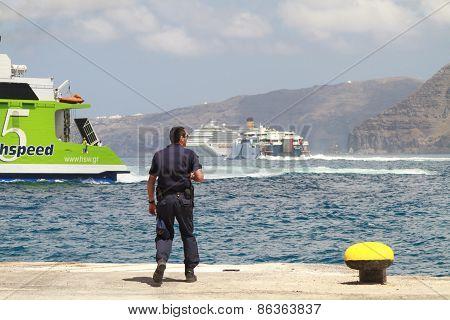 Busy Santorini Seas