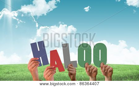 Hands holding up haloo against field and sky