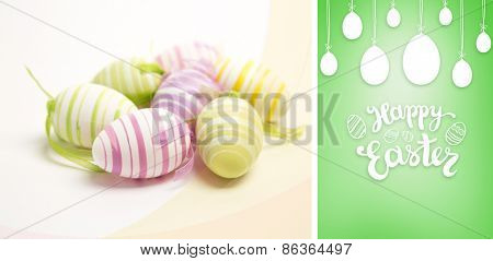 happy easter graphic against green vignette