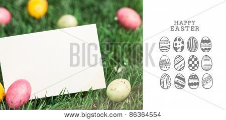happy easter graphic and little eggs with blank