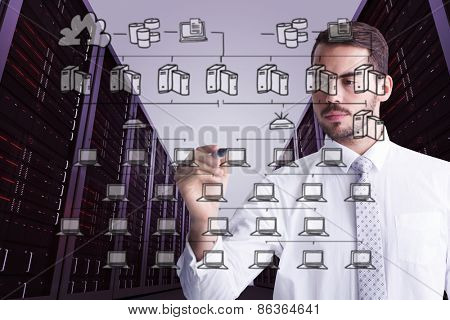 Cheerful businessman writing with marker against cloud computing doodle