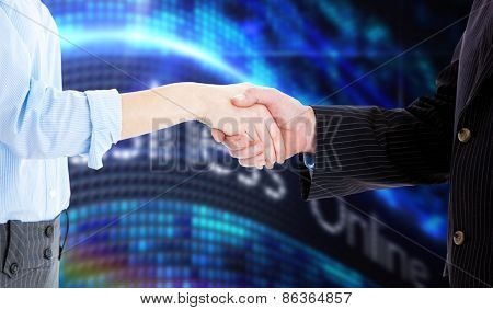 Close up of a business people closing a deal against business online on digital screen