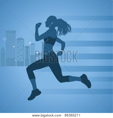 Digitally generated Woman jogging against urban background vector