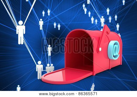 Red email post box against futuristic glowing figures