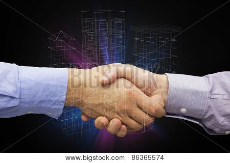 Hand shake in front of wires against technology interface