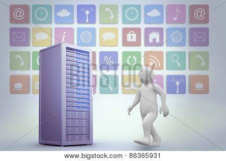 White character walking against digitally generated grey server tower