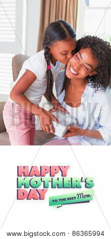 mothers day greeting against pretty mother sitting on couch offering daughter a gift