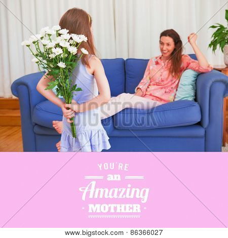 mothers day greeting against daughter surprising mother with flowers