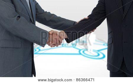 Handshake in agreement against online community