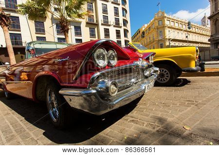 Havana - February 26: Classic Car And Antique Buildings On February 26, 2015 In Havana. These Vintag