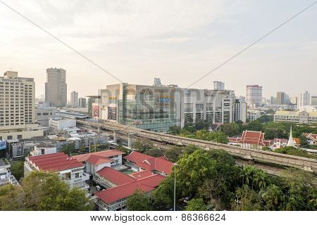 Bangkok,thailand-february 17:bangkok Mass Transit System (bts) Station At Siam Paragon And The Pathu