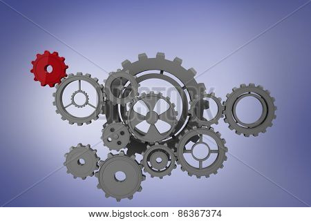 Cogs and wheels against purple vignette
