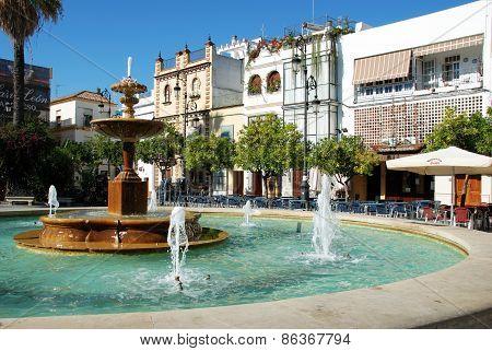 Fountain in square, Sanlucar de Barrameda.