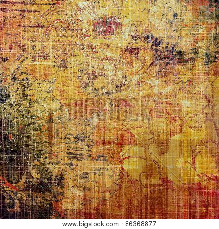 Abstract grunge background with retro design elements and different color patterns: yellow (beige); brown; red (orange)