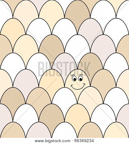 Seamless pattern of rows of brown and white chicken eggs. One has a smiley face drawn on it. EPS10 vector format