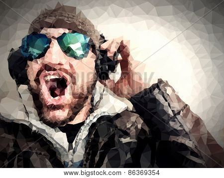 Low Poly Portrait of a Man having fun listening to music with a pair of headphones and vintage eyeglasses.