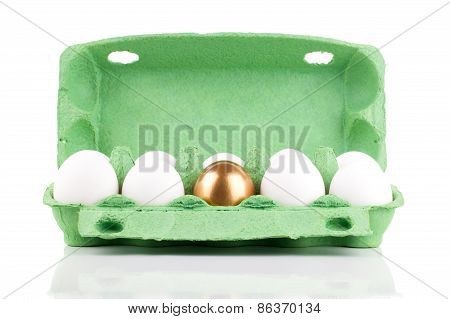 Golden Egg In The Package, Concept Of Making Money, Isolated On White Background