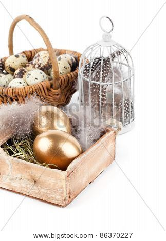 Golden Egg In Nest Space For Text, On White Background