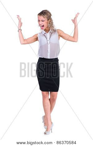 Young anger woman. Caucasian businesswoman isolated on white background