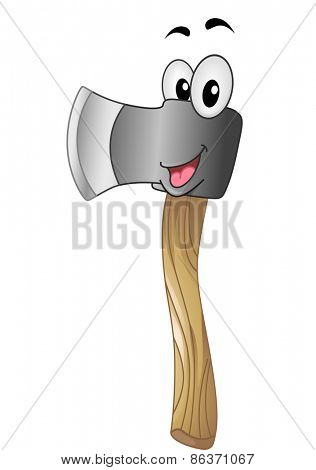 Mascot Illustration of an Axe Flashing a Big Smile
