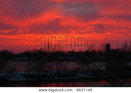 Blood-red Dusk On Volhov River.
