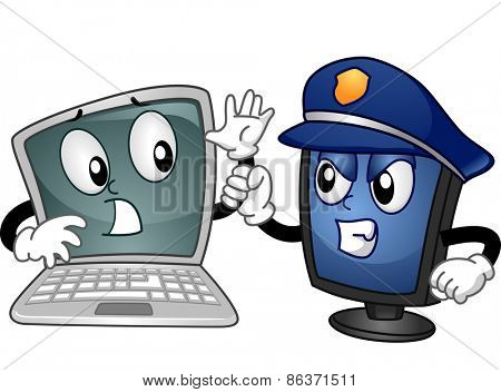 Mascot Illustration of a Computer Monitor Dressed as a Cop Apprehending a Laptop