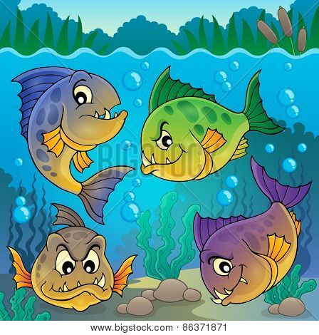 Four piranha fishes underwater - eps10 vector illustration.