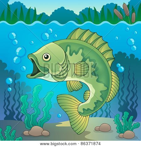 Freshwater fish topic image 1 - eps10 vector illustration.