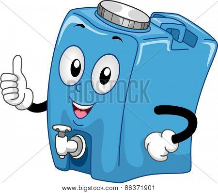 Mascot Illustration of a Water Container Giving a Thumbs Up