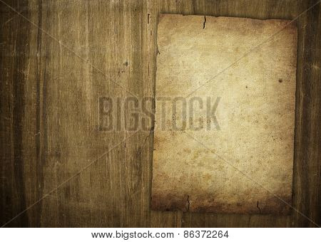 old paper on wood board