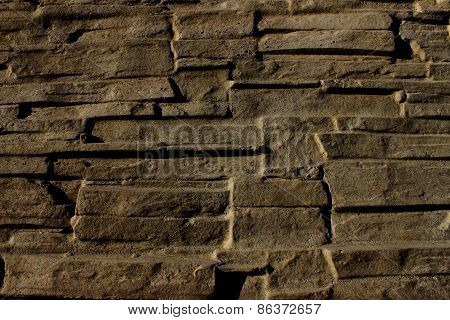 Stone Wall, Folded Wall Of Stone Slabs Background