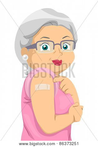 Illustration of a Senior Citizen Showing the Place Where She Was Vaccinated