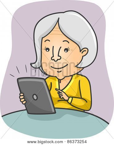Illustration of a Female Senior Citizen Browsing Through the Contents of Her Tablet