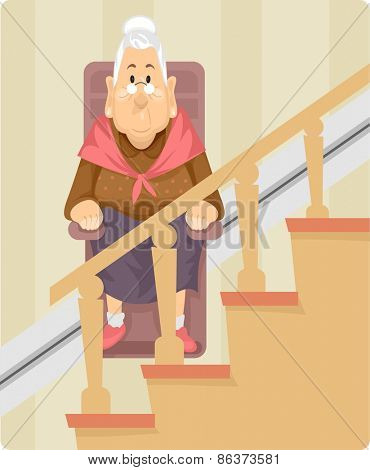 Illustration of a Female Senior Citizen Using a Wheelchair Lift to Climb Up the Stairs