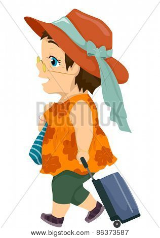 Illustration of a Female Senior Citizen Dragging a Suitcase