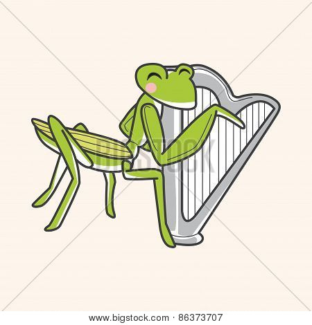 Animal Grasshopper Playing Instrument Cartoon Theme Elements