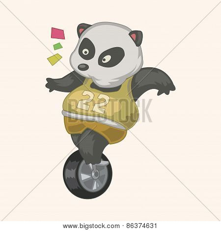 Animal Panda Doing Sports Cartoon Theme Elements