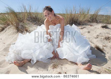 Happy Bride On The Beach