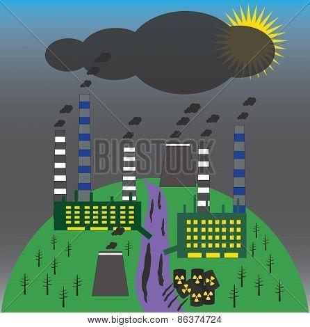 Landscape with environmental contamination. Ecology problem conc