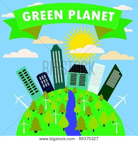 Green planet with the city, trees, vector illustration.