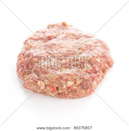 Fresh Raw Burger Cutlets Isolated On White Background