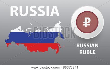 Vector illustration of map of the Russia, the button with the cu