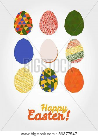 'Happy Easter!' card. Easter eggs with various textures.